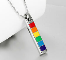 Unisex Gay Pride Rainbow Pendant Tag Stainless Steel Necklace - Brand New