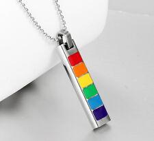 Unisex Orgullo Gay Arcoiris Colgante Tag Collar De Acero Inoxidable-Nuevo