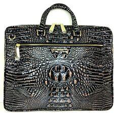 ❤️BRAHMIN LAPTOP CASE DUSK BLACK SILVER GOLD CROC LEATHER WORK BUSINESS BAG❤️