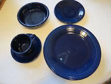 Fiesta ware 5 pc set Cobalt dinner & salad plate soup bowl cup saucer NIB NOS*^