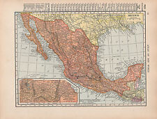 1909 MAP ~ MEXICO WITH STATES & TERRITORIES CITIES-TOWNS LA PAZ CHIHUAHUA