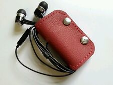 Earbud/ear phone Rasberry red real leather case with studs
