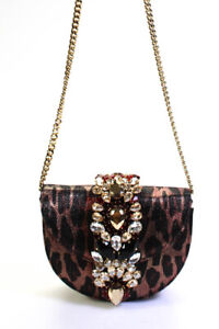 Gedebe Crystal Mini Metallic Leopard Crossbody Handbag Gold