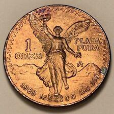1985 MEXICO SILVER LIBERTAD 1oz ONZA BU UNCIRCULATED COLOR TONED HIGH GRADE COIN