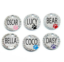 Dazzle Labs Rhinestone Paw Round Engraved Personalized Dog Cat Tag Pet Id Tag2