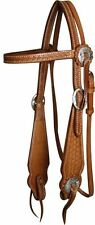 BUCKAROO STYLE WIDE CHEEK LEATHER HEADSTALL COB/FULL, NEW WITH TAGS