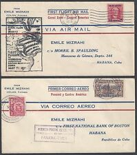 PANAMA 1929 TWO FIRST FLIGHT AIR MAIL COVER CANAL ZONE TO US & TO HABANA