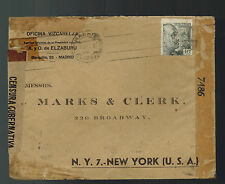 1944 Madrid Spain Censored cover to USA Perfin Stamp