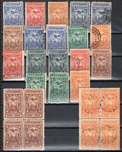 ECUADOR 1880/8 TWENTY SIX REVENUE STAMPS MH AND USED