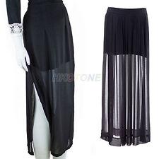 Womens See Through Dress Sheer Side Split Pleated Chiffon Maxi Long Skirt Black