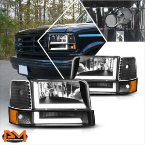 For 92-96 Ford F150-F350 6Pcs Dual L-Shape LED DRL Bumper Headlight Black/Amber