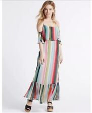 M&S Multi Coloured Stripped Maxi Dress Frill Size 12 Cold Shoulder