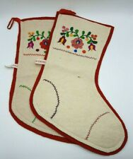 Set of 2 Vtg Wool Felt Christmas Stockings Made in Hungary Embroidered Flowers