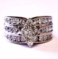 14k white gold 1.90ct I1-I2 H-J diamond cluster engagement ring womens 8.3g