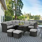 U-MAX 7 Pieces Outdoor Furniture Set Patio Wicker Rattan Sectional Sofa w/ Table
