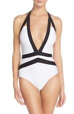 TED BAKER RALINDA HALTER CUT OUTS SWIMSUIT (black and white)  3  (US 8-10)