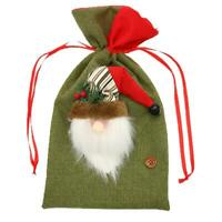 Wrap Candy Christmas Gift Bag Sack Drawstring Santa Snowman Elk Claus New S T6C9