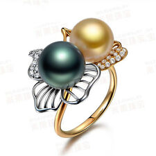 18K Yellow Gold Filled Women Pearl FlowerRings Men Rings J017