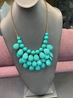Vintage Medium  Green Lucite Cluster  Dangle Charm Statement Necklace 18""