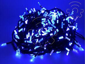 Stringa serie 200 luci di Natale led a prisma blu catena 16 mt per uso esterno e