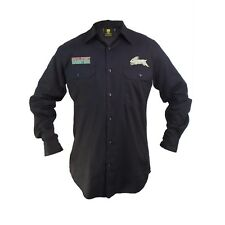 South Sydney Rabbitohs NRL LONG Sleeve Button Work Shirt BLACK Workwear Tradies