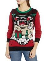 Ugly Christmas Sweater, Cayenne Light-up Santa on Polar Bear Rug, Size Small NSH