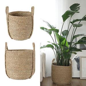 Garden Straw Woven Storage Basket Flower Planter Basket Kids Toys Organizer