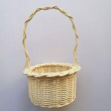 White Round Rattan Flower Vase Basket Wicker Weave Nature Planter Home DecorGift
