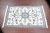Wool/Silk White Traditional Floral Nain Area Rug Hand-Knotted Kitchen Carpet 3x5