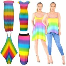 Ladies Multi Rainbow Sheering Boobtube Playsuit Romper Pencil Midi Maxi Skirts