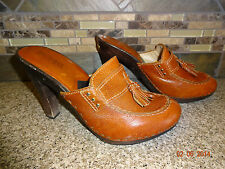 "MICHAEL KORS Womens Sz 8M Brazil Brown Leather Shoes Wood 4.5"" Heels Mules"