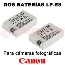 2X BATERÍA LP-E8 LPE8 PARA CANON EOS 550D / REBEL T2i / Kiss X4; 7.4V 1.500 mAh