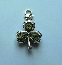 Sterling Silver Clip-on Green Amber Shamrock Charm