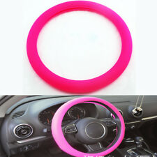 Rose red Car Auto Silicone Steering Wheel Cover Protector Shell Leather Texture