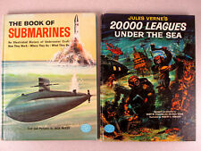 Vtg Illustrated HB Childrens Books Jules Verne 20,000 Leagues + Submarines RARE