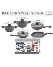 Batteria Di Pentole DG Bavaria 9 Pezzi Grigia/Nera Induzione Con Coperchi