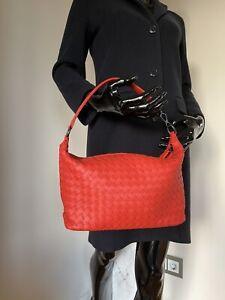 BOTTEGA VENETA 239988 SMALL SHOULDER BAG GERANIUM RED INTRECCIATO NEU