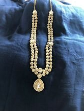 Silver Crystal With Gold Finish /silver Long Necklace  / Head Chain/ Saree Belt