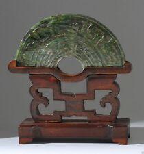 Jade004 Antique Estate Chinese green jade half bi 19th Century