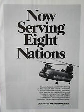 8/1973 PUB BOEING CHINOOK CH-47C HELICOPTER CANADA 8 NATIONS ORIGINAL AD