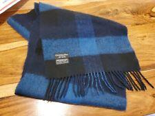 Vtg Christian Dior Monsieur SCARF blue black Plaid merino wool JAPAN