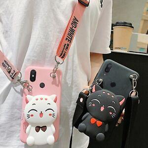 Lucky Cat Wallet Purse Hot Cute Cartoon Women Girl Case Cover For Various Phones