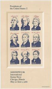 US 2216 Ameripex'86 Presidents 22c sheet (9 stamps) MNH 1986