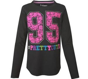 Hanes Girls' Long-Sleeve Sporty Lace #Prettycute Crewneck Shirt ADORABLE!!!!!!!!