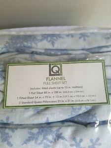 NEW FULL FLANNEL SHEET SET FROZEN/WINTER/SNOW FLAKE. LIVING QUARTERS 100% COTTON