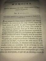 MOUVEMENS DES CORPS CÉLESTES AUTOUR DE LEURS CENTRES DE GRAVITÉS.  LAPLACE 1796