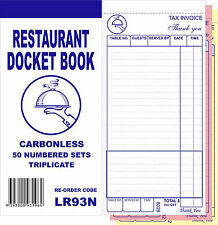 100 Restaurant Docket Book - Large SizeTriplicate Carbonless WITHOUT WORD DRINKS