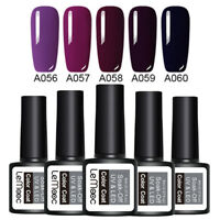 LEMOOC 5 Bottles 8ml Nagel Gellack Soak off Nail Art UV Gel Polish Lila Kit