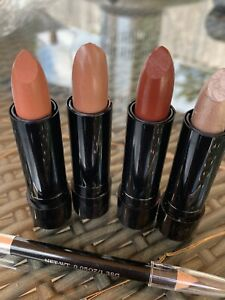4 X Brown And Neutral Lipsticks With Brown Liner