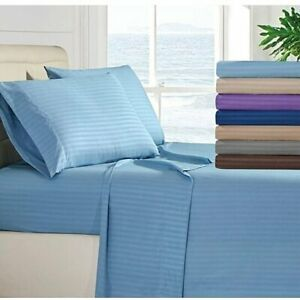 Attached Water Bed Sheet Set All Stripe Colors & Sizes 1000 TC Egyptian Cotton